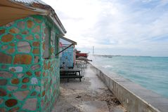 Colorful building. Green building in grand turk royalty free stock photography