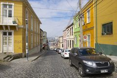 Colorful building in the historical part of Valparaiso, Chile. Stock Photography