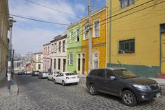 Colorful building in the historical part of Valparaiso, Chile. Royalty Free Stock Photography