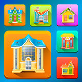 Colorful Building icons Stock Images
