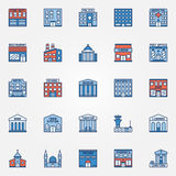 Colorful building icons set Royalty Free Stock Photography