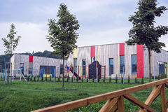 Colorful building kindergartens. In the evening royalty free stock image
