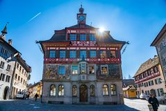 Colorful building in medieval swiss town center of Old Stein Am. STEIN AM RHEIN, SWITZERLAND - MARCH 24, 2018 : Colorful building in medieval swiss town center royalty free stock images