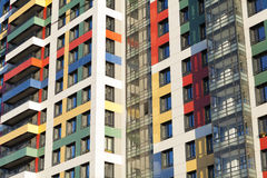 Colorful building. Multi-storey building with a colorful facade elements royalty free stock image