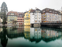 Colorful building near Lake Lucerne Stock Image