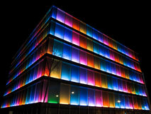 Colorful building at night. A building in Geneva Switzerland royalty free stock photography