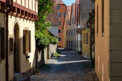 Colorful building in old street of Rothenburg ob der Tauber, Bavaria, Germany. Colorful building in old alley of Rothenburg ob der Tauber city, Bavaria, Germany stock photo