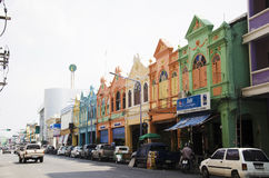 Colorful Building old town and landscape traffic road of Hat Yai. City on April 25, 2016 in Songkhla, Thailand Royalty Free Stock Photos