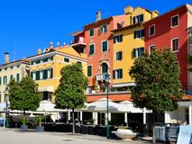 Colorful building of the old town, Rovinj, Croatia. Colorful Venetian style houses in the old town of Rovinj, Croatia stock photography