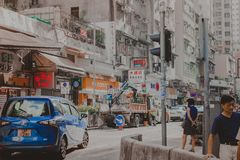 Colorful building on one of streets in hong kong. Colorful building in hong kong china royalty free stock image