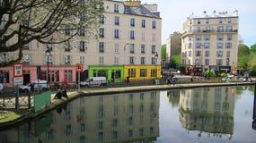 Colorful parisian building at the Saint-Martin canal, Paris. Colorful building pbuilding pabuilding parbuilding paribuilding parisbuilding parisibuilding stock photos