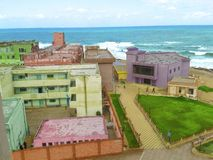Colorful building and sea. Taken in egyot at alexandria and edited with photoshop the resluotion is 2560*1360 pixel royalty free stock images
