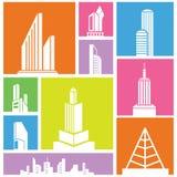 Colorful building set. City, metropolis background, building icon, colorful background Stock Image