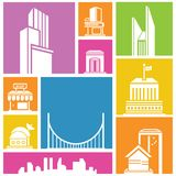 Colorful building set. City, metropolis background, building icon, colorful background Royalty Free Stock Photography