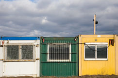 Colorful building site cabins Stock Photos