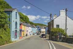 Colorful Building of Small Village in West Wales stock photo