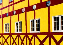 Colorful building in Solvang, California. Colorful Danish style building with coat of arms in Solvang, California stock image