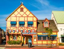 Colorful building in Solvang, California. Colorful Danish style restaurant building with coat of arms in Solvang, California royalty free stock photography