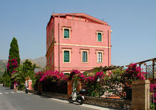 Colorful Building In Taormina, Sicily Stock Photo