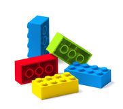 Colorful building toy blocks 3D. On white vector illustration