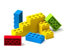 Colorful building toy blocks 3D on white stock illustration
