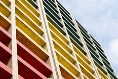 Colorful building under blue sky. Office building royalty free stock image