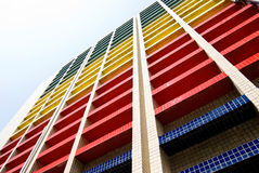 Colorful building under blue sky. Office building stock photo