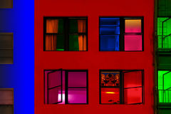 Colorful buildings. Attached to each other in a row photographed at night Stock Photography