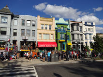 Colorful Buildings on Adams Morgan Day. Photo of people and colorful buildings in adams morgan in washington dc on 9/13/15 on adams morgan day. This diverse royalty free stock photo