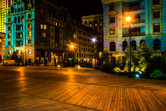 Colorful buildings along the boardwalk at night in Atlantic City Stock Photography