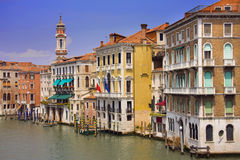 Colorful buildings along the canal in Venice Royalty Free Stock Photo