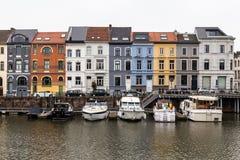 Colorful buildings along Nieuwbrugkaai and Portus Ganda in Ghent Royalty Free Stock Photos