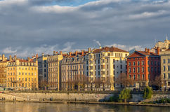 Colorful buildings along the river Saone in Lyon, France Stock Images