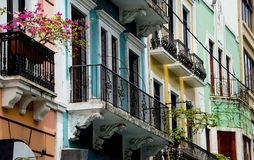 Colorful buildings with balconies Stock Photography
