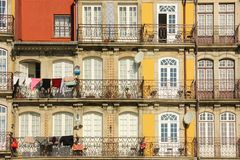 Colorful buildings with balconies. Porto. Portugal stock photography