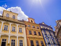 Colorful buildings, Prague old town square, Czech Republic. Colorful buildings in baroque style, Prague old town square, Czech Republic Stock Photos