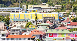 Colorful Buildings in Bridgetown Barbados Stock Photo