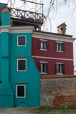 Colorful buildings in Burano Stock Photography
