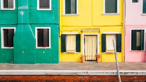 Colorful buildings at Burano island, Venice, Italy royalty free stock photo