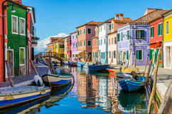Colorful buildings in Burano. Stock Photography