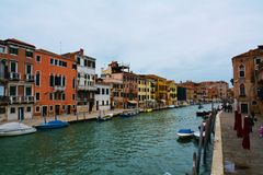 Colorful buildings and canal in Venice, Italy Stock Images