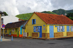 Colorful buildings in the center of Les Anses d`Arlet on December 31, 2016, M. LES ANSES D`ARLET, MARTINIQUE, FRANCE - DECEMBER 31: Colorful buildings in the Royalty Free Stock Photos