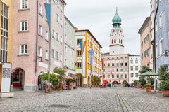 Colorful buildings in the center of Rosenheim Stock Photo