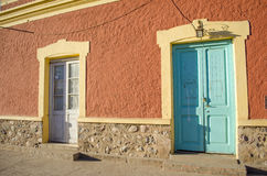 Colorful buildings. In the city of San Marcos Sierras, Argentina Stock Photos