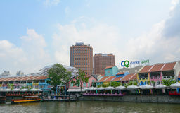 Colorful buildings in Clarke Quay, Singapore Stock Image