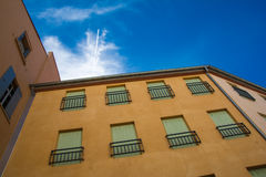 Colorful buildings in downtown Perpignan Stock Images