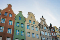 Colorful buildings facade in a row, Gdansk Royalty Free Stock Photos