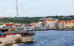 Colorful Buildings and Floating Bridge in Curacao Stock Image
