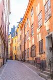 Colorful Buildings in Gamla Stan Stockholm. Narrow Street wit Colorful Buildings in Gamla Stan Stockholm Royalty Free Stock Photography