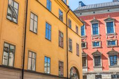 Colorful Buildings in Gamla Stan. Two Colorful Buildings in Gamla Stan, Stockholm, Sweden Stock Photography